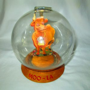 Antique Vic Moran Bubble Bank Glass Moo La with Cow Insided  Very Nice Condition