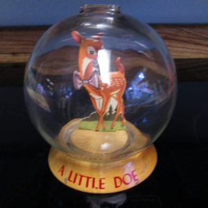 Antique Vic Moran Bubble Bank Glass with A little Doe Deer  Inside Unused and Sealed bottom Almost Mint