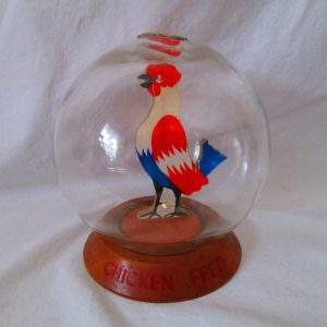 Antique Vic Moran Bubble Bank Glass with Chicken Feed Chicken Inside Early Bank Both Sides of Chicken Colored