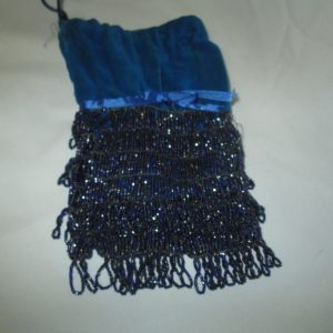 Antique Victorian Beaded Cloth purse Bag Evening Bag string closure Teal velvet blue loop beads