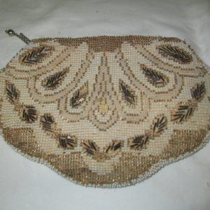 Antique Victorian Czechoslovian Hand held Fully Beaded Shell Shape clutch Very early piece
