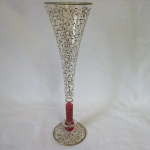 Antique Victorian Gold Tall Enameled Vase with red stem Heavy gold detailing top to base Danity Delicate Display Decor Collectible Glass Red