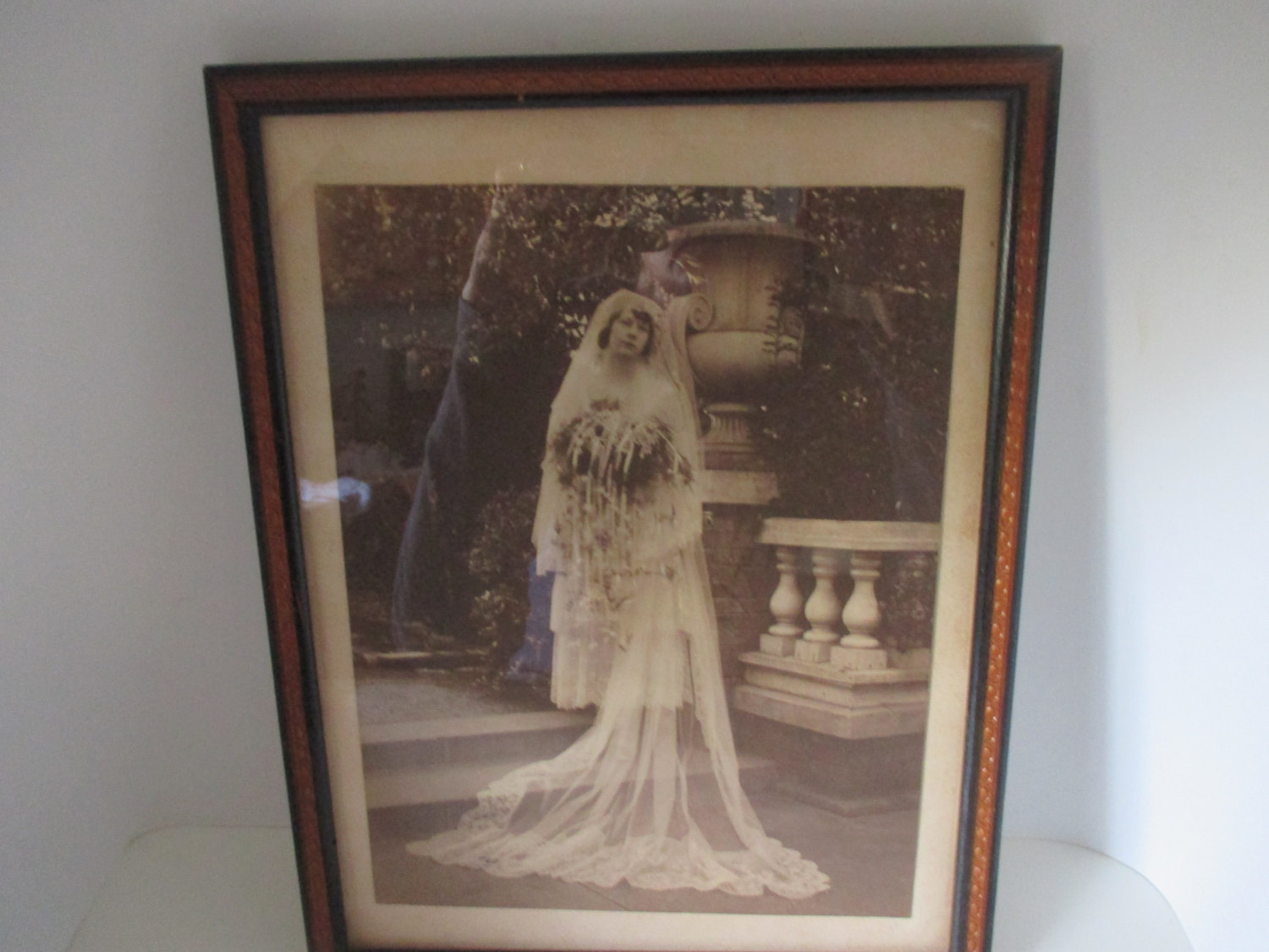 Antique Victorian Wedding Photo Picture Woman In Wedding Gown With Flowers  Bridal Shower Decor Bride Wedding