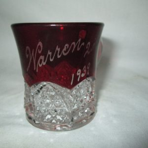 Antique Warren 2nd Birthday Miniature Cut glass Red baby cup etched 1939