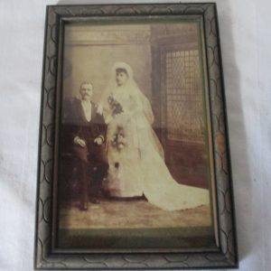 Antique Wedding Photo Turn of the Century 5x7 woman in wedding gown man seated Antique photo wall decor home decor collectible