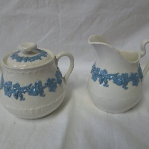 Antique Wedgwood Old Glazed Cream & Sugar Raised leaves, grapes and vines Early piece Embossed Queens ware England
