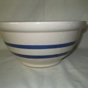 "Antique Yellow Ware Large Pottery Mixing Bowl Very Nice Condition 10.5"" across"