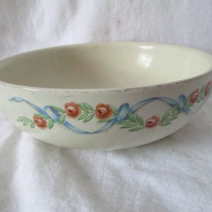Beatiful Hall's Superior Quality Kitchenware USA Serving Bowl Floral Pattern with Ribbons Heavy quality Stoneware