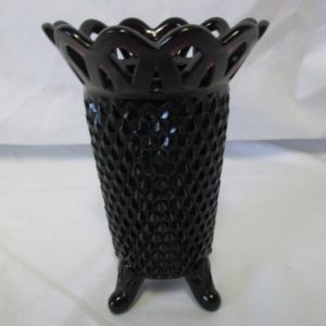 Beautiful Amethyst Glass Footed Vase Diamond Pattern Reticulated Rim Purple that looks black Westmoreland