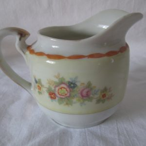 Beautiful Antique Creamer Pitcher Mid Century Japan Floral Ivory with pale yellow & mustard
