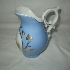 Beautiful Antique Creamer Pitcher Periwinkle Blue with Water scene