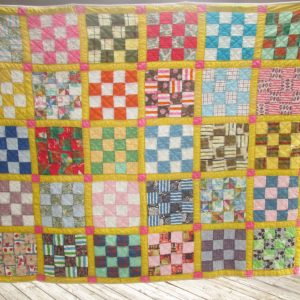 Beautiful Antique Hand made hand stitched quilt Full Size Very good condition lined no stains primarily yellow