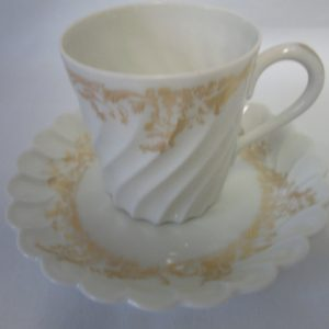 Beautiful Antique Limoges Haviland Demitasse tea cup and saucer Swirled glass gold pattern Stunning little piece