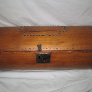 Beautiful Antique Lined Round Doll Trunk Child's Trunk Box Storage Home Decor Wooden Cast Iron handles hinges latch