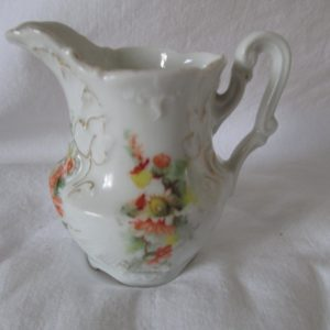 Beautiful Antique Small Cream Pitcher Peach and yellow Flowers scalloped shell pattern gold trim