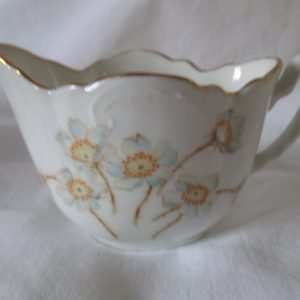Beautiful Antique Small Cream Pitcher scalloped top gold trim and raised scrolls dogwood floral