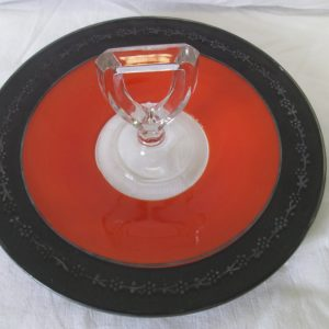 Beautiful Art Deco Orange and Black with Silver Overlay Cookie Tort Snack Tray with Handle Glass Fired on paint