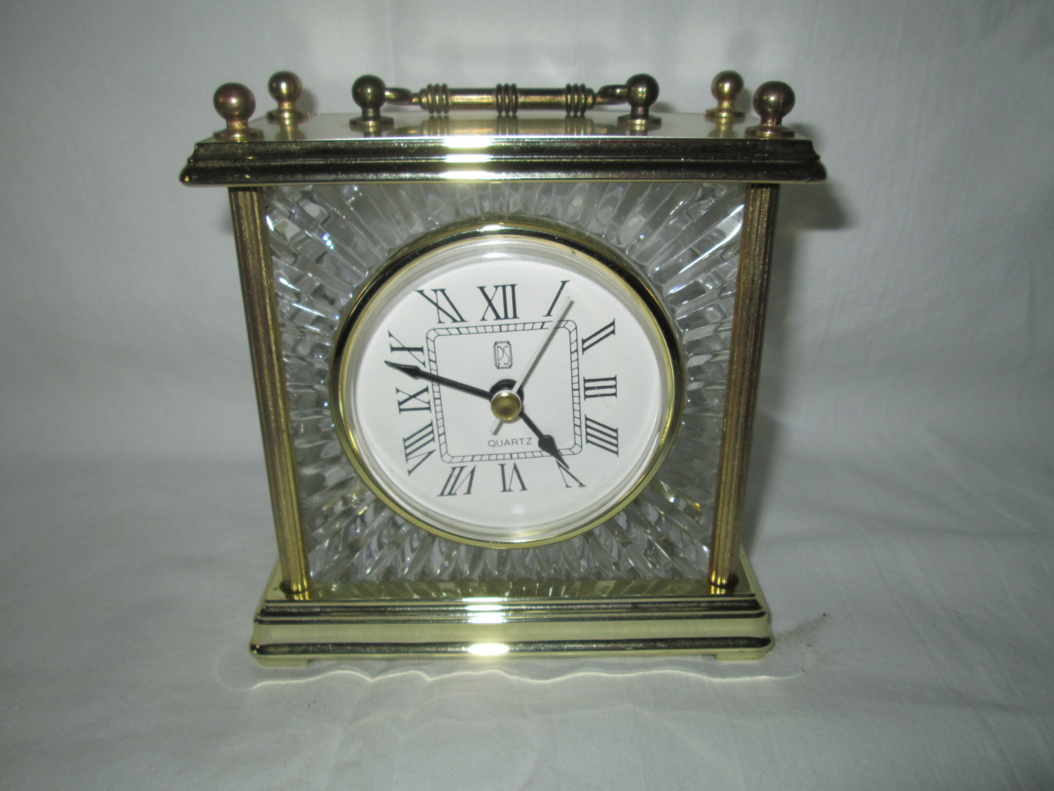 Beautiful Brass And Crystal Working Carriage Clock Quartz Bedside Clock PS  Germany Brand Mantle Desk Dresser