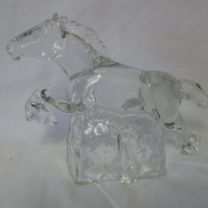 Beautiful Clear Glass Horse Figurine Bookend on Glass block Large Jumping horse