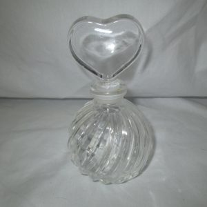 "Beautiful Clear Perfume bottle swirl glass bottle with heart ground glass stopper 6"" tall"