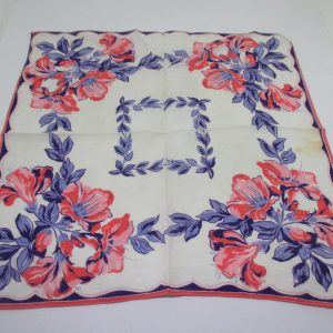 Beautiful Coral, blue and lavender floral Handkerchief Hanky great coloring Cotton
