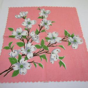 Beautiful Coral Handkerchief Hanky with Dogwood Flowers  great coloring Cotton Scalloped white edge
