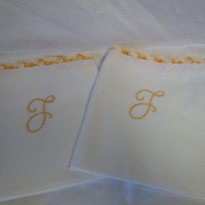 "Beautiful Crochet & Embroidered Pillowcase pair No Iron Percale Yellow varigated L monogram yellow varigated crochet  trim 21"" x 31"" White"