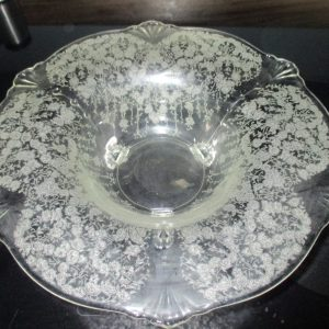 Beautiful Etched Clear Center bowl footed Depression era Large rim bowl home decor collectible display centerpiece bowl