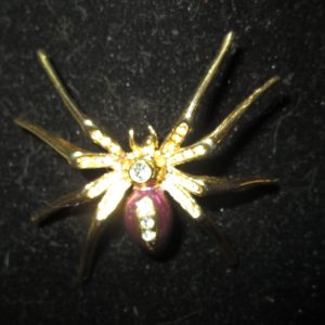 Beautiful Fantastic Enamel and Gold tone Spider Brooch Pin Purple Enamel body gold tone color with Rhinestones down body Large Pin
