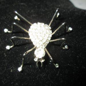 Beautiful Fantastic Rhinestone Fancy Funny Neat Spider Silvertone Brooch including rhinestone feet WOW pin brooch Vintage