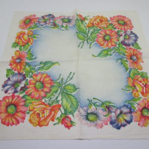 Beautiful Floral Handkerchief Hanky orange green and purple large floral great coloring Cotton