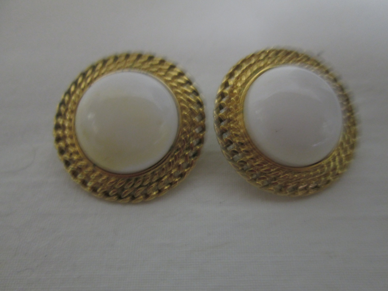 Beautiful Gold tone earrings with white centers Gold trim pierced edges 0dca03e12f