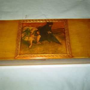 Beautiful Gold Trimmed Box Jewelry Box Trinket Box Paper lined hinged florentine box ballerina picture top wooden box