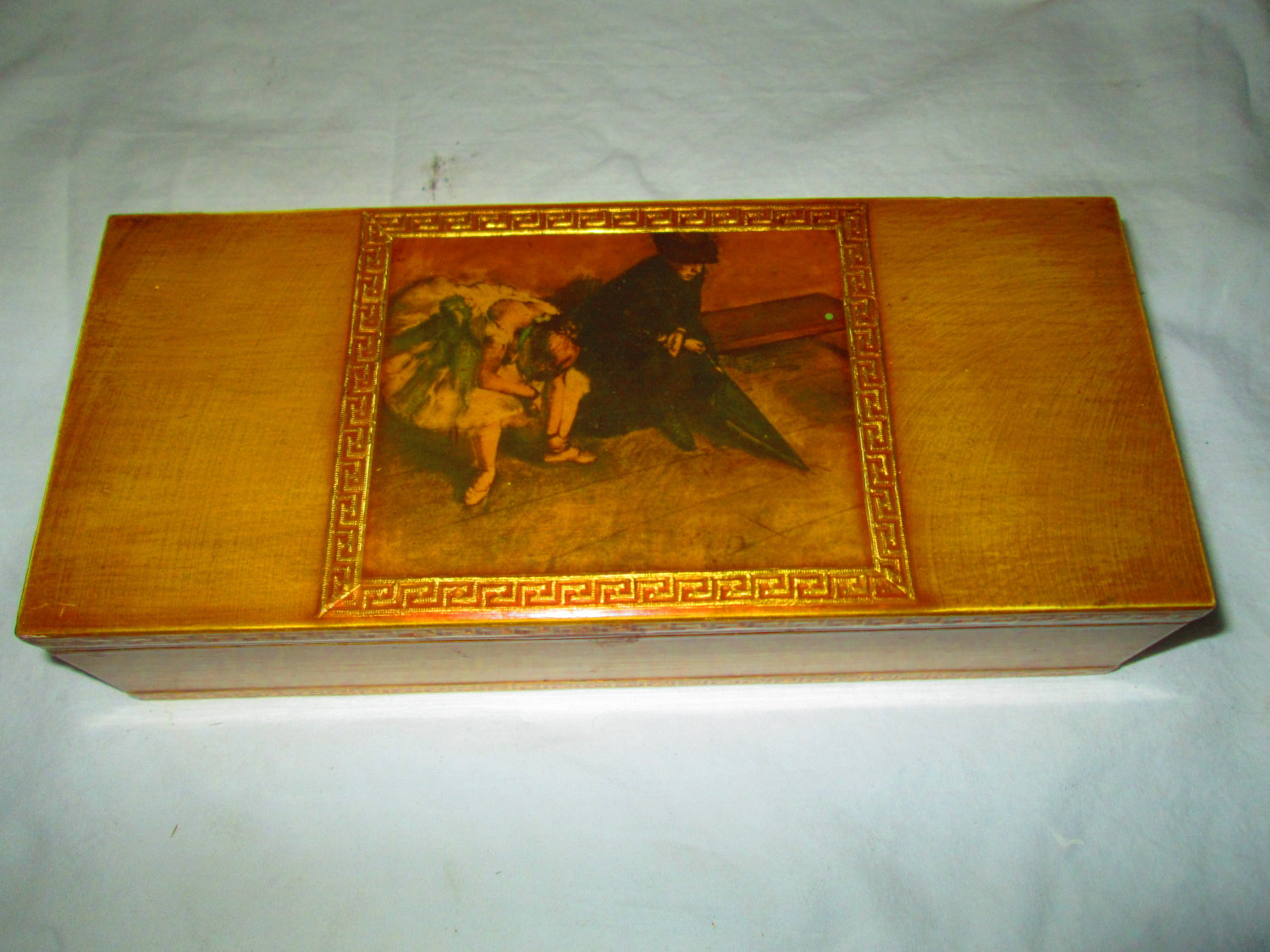 Beautiful Gold Trimmed Box Jewelry Trinket Paper Lined Hinged Florentine Ballerina Picture Top
