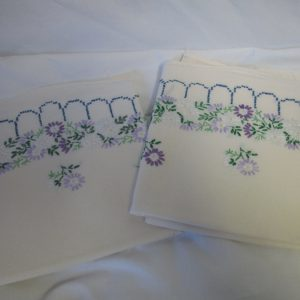 "Beautiful Hand Crochet & Embroidered Pillowcase pair No Iron Percale Floral purple lavender green blue 21"" x 30"" Ivory"