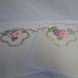 "Beautiful Hand Crochet & Embroidered Pillowcase pair No Iron Percale Floral Pink purple green blue 22"" x 32"""