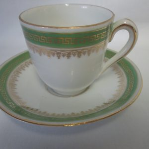 Beautiful Imperial China  Austria Demitasse tea cup and saucer Green rims  with Gold Trim