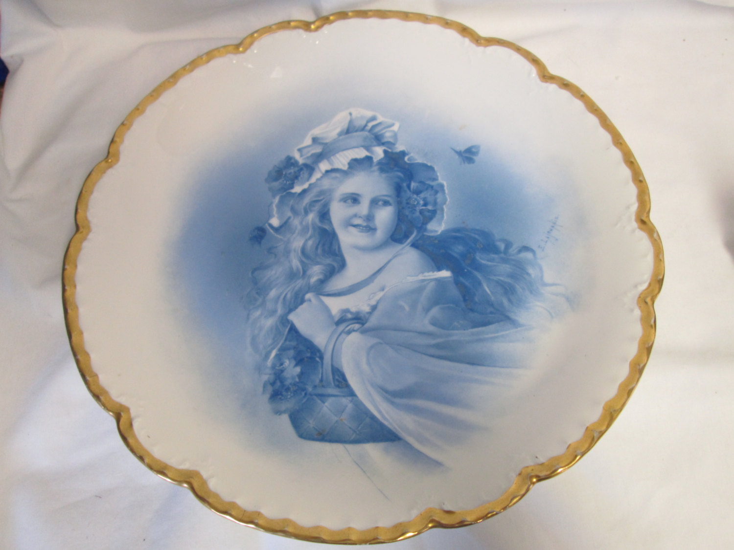 Beautiful Large Limoges Wall Hanging Plate Signed by Artist Hand painted turn of the century fine bone china Blue & white Victoriangold trim