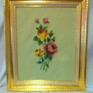 Beautiful Large Needlepoint Hand Made Yellow and Pink Roses Ivory background framed in gold