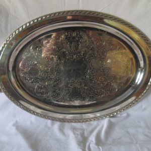 Beautiful Large Oval serving tray Silver plate handled tray with rope pattern design rim