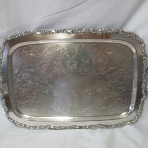 Beautiful Large Rectangular serving tray Silver plate handled tray with ornate handles and edges Scrolls and flowers footed tray