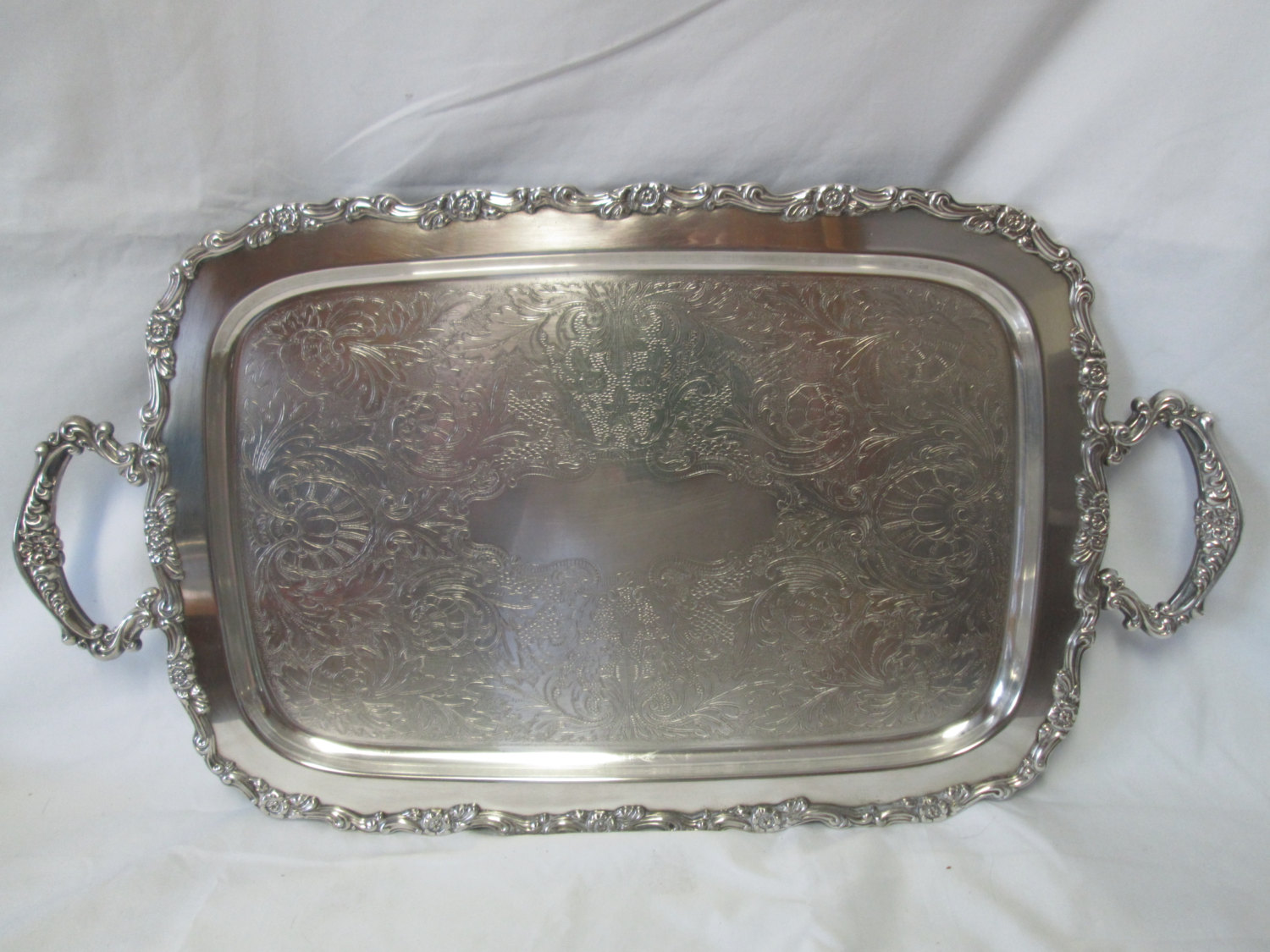 Beautiful Large Rectangular Serving Tray Silver Plate Handled With Ornate Handles And Edges Scrolls