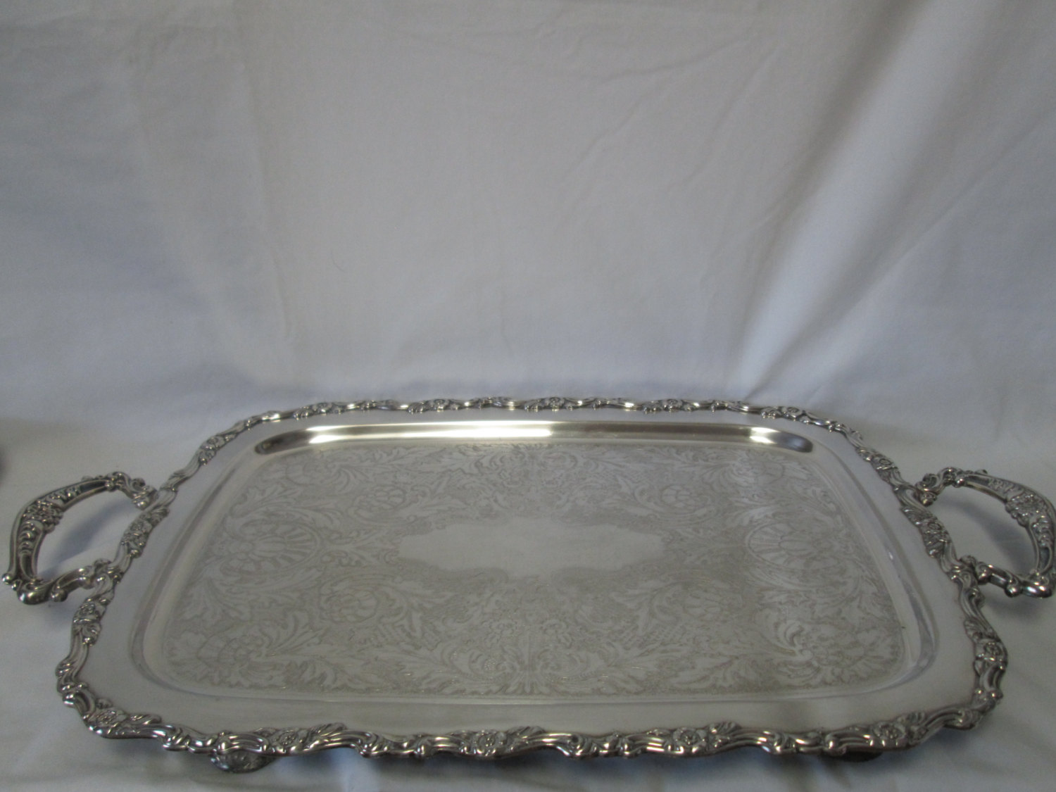 Beautiful Beautiful Large Rectangular serving tray Silver plate handled tray  LC92