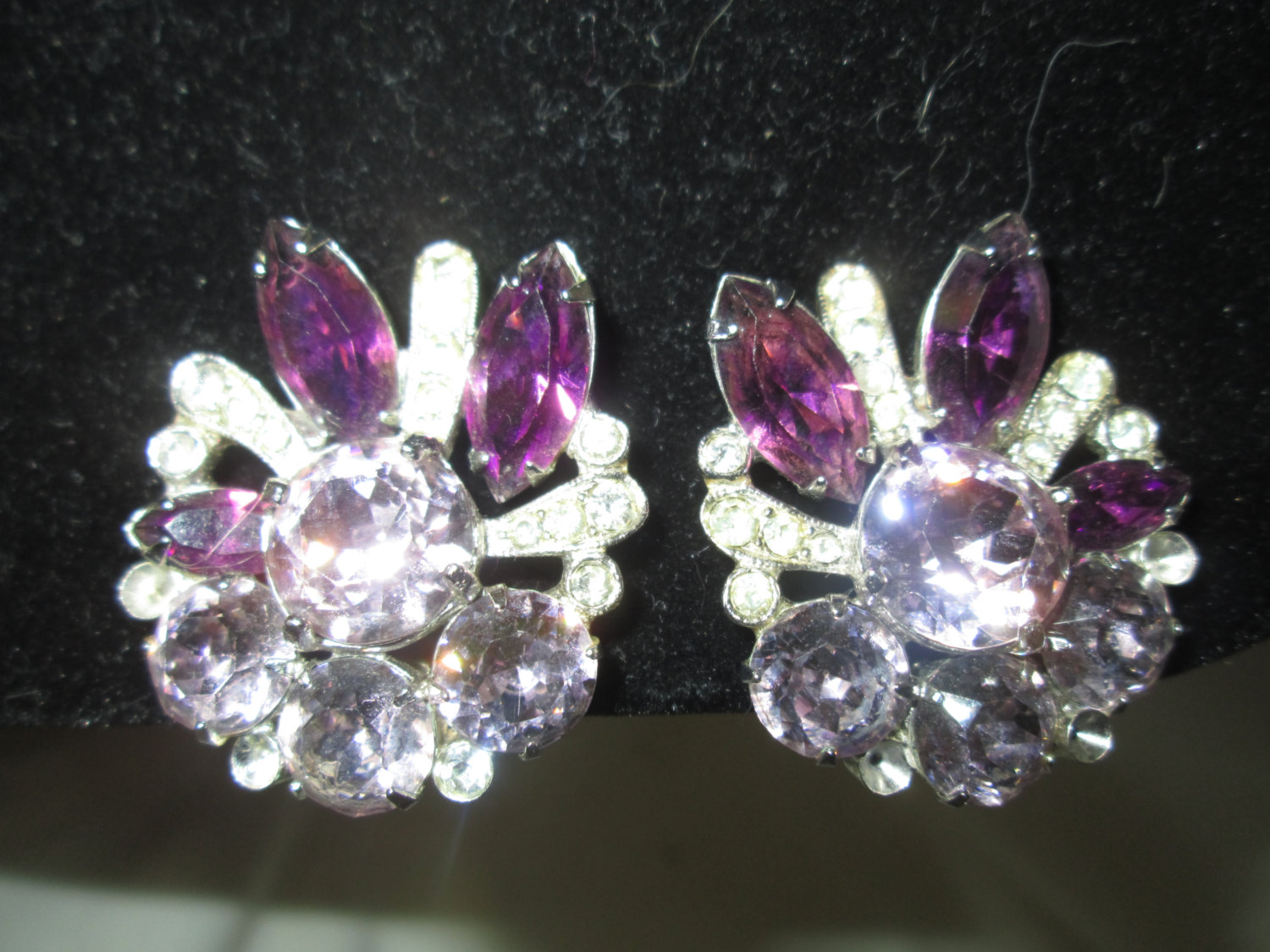 3f7a25626 Beautiful Large Rhodium Plated Clip Earrngs Rhinestones Eisenberg Ice  Jewelry WOW Pieces Wedding Evening Jewelry signed