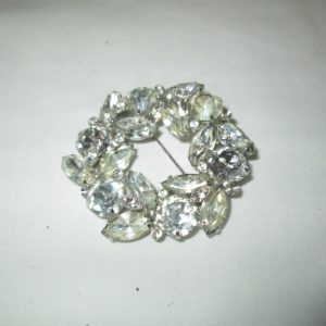 Beautiful Large Rhodium Plated Eisenberg Ice Brooch Rhinestones Large Fantastic Pin Signed Jewelry WOW Piece Wedding Evening Jewelry
