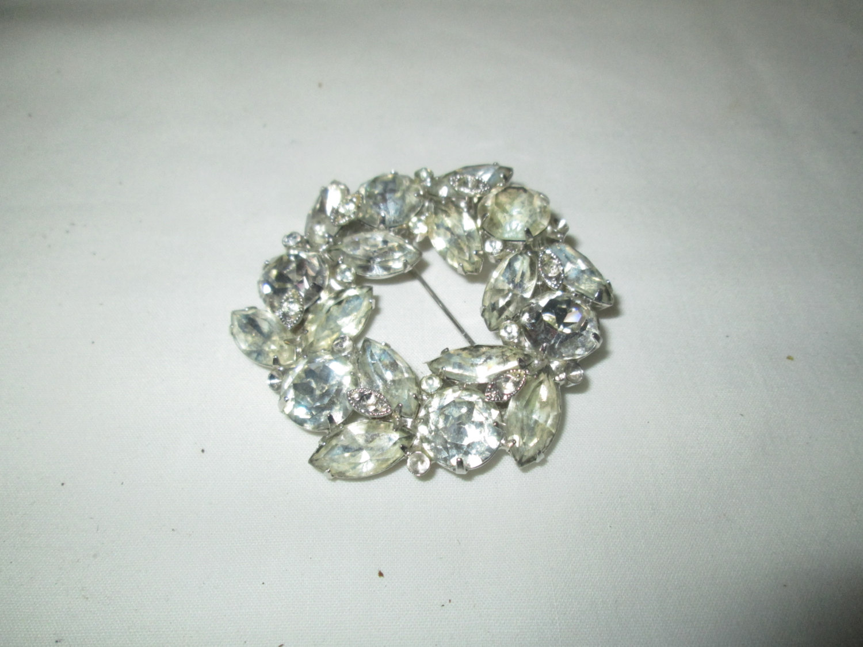 c333231b7 Beautiful Large Rhodium Plated Eisenberg Ice Brooch Rhinestones Large  Fantastic Pin Signed Jewelry WOW Piece Wedding