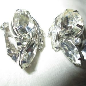 Beautiful Large Rhodium Plated Eisenberg Ice Clip Earrings Rhinestones Signed Jewelry Wedding Evening Jewelry Special Occasion
