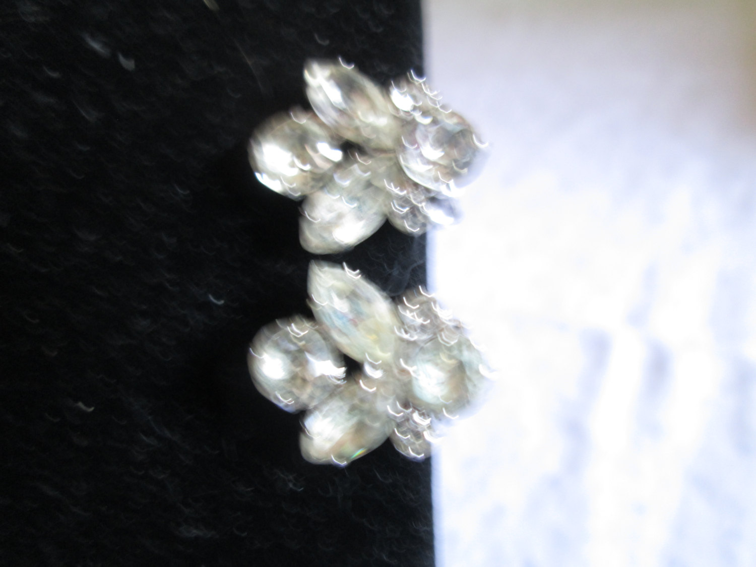 368871e90 Beautiful Large Rhodium Plated Eisenberg Ice Clip Earrngs Rhinestones  Signed Jewelry WOW Pieces Wedding Evening Jewelry
