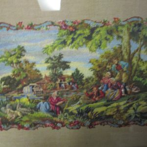"""Beautiful Mid Century Victorian Style Printed Scene in wooden gold frame called petite point 9""""x12"""""""