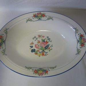 Beautiful Pope-Gosser China Serving Vegetable Potato Bowl Made in the USA Blue trim Floral pattern